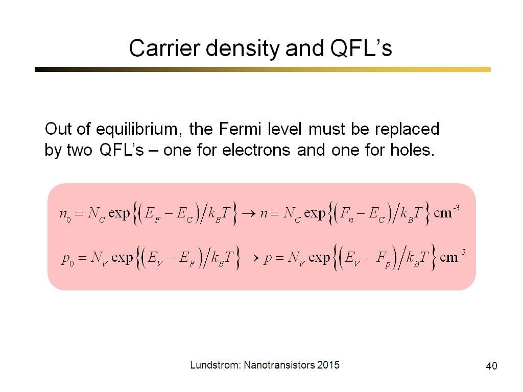 Carrier density and QFL's