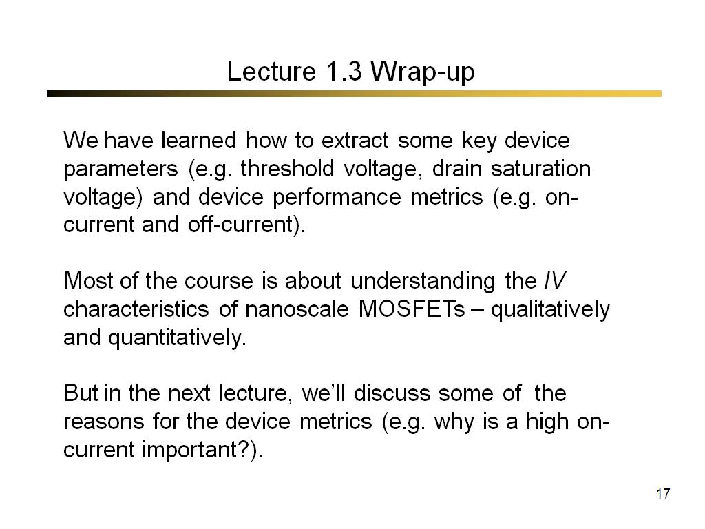 Lecture 1.3 Wrap-up