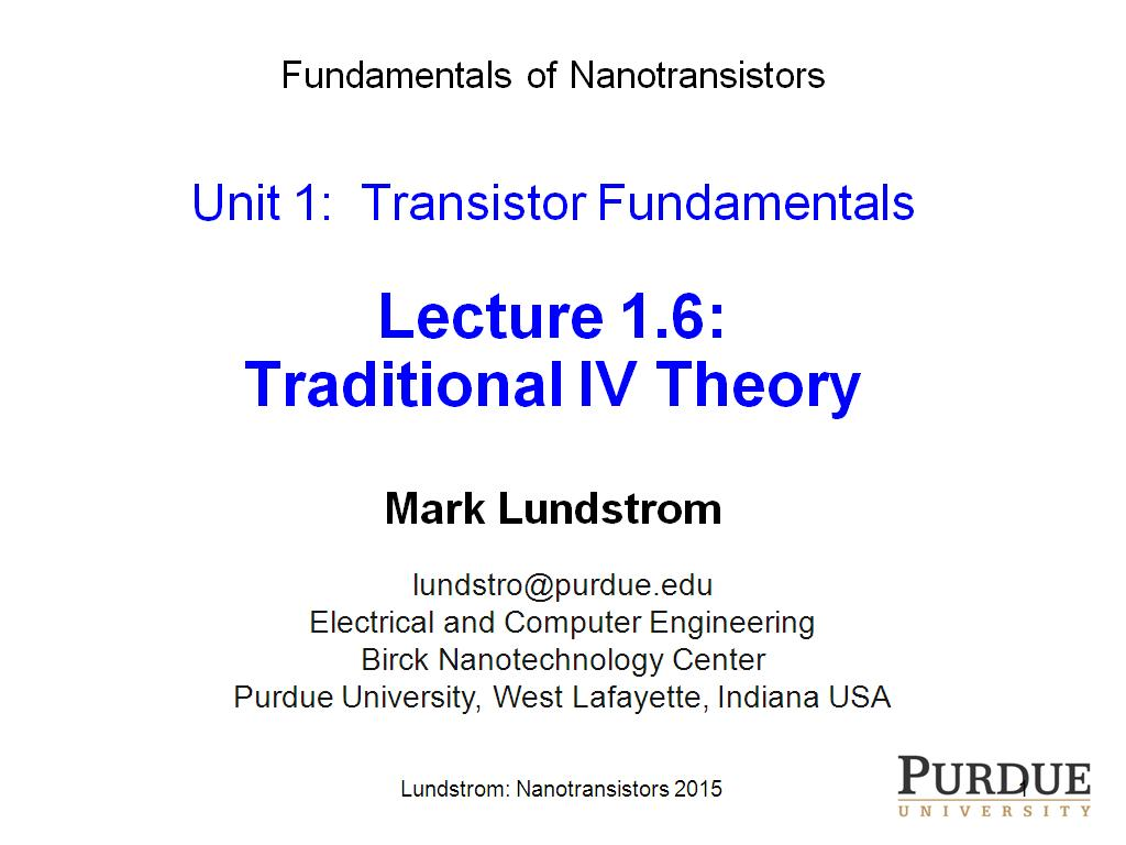 Lecture 1.6: Traditional IV Theory