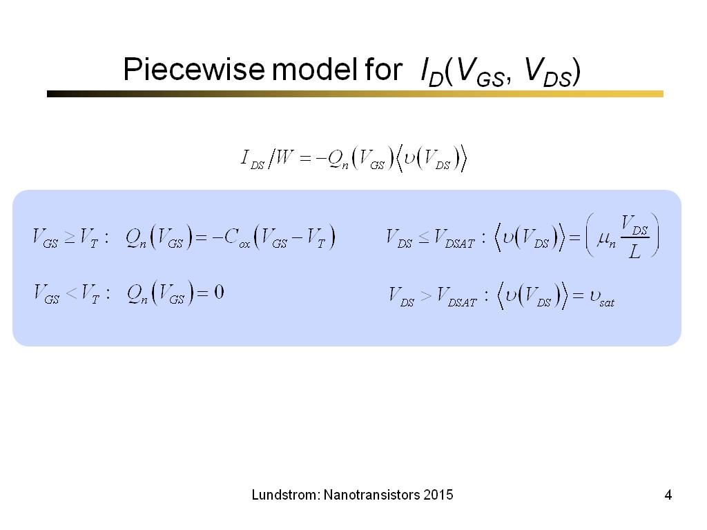 Piecewise model for ID(VGS, VDS)