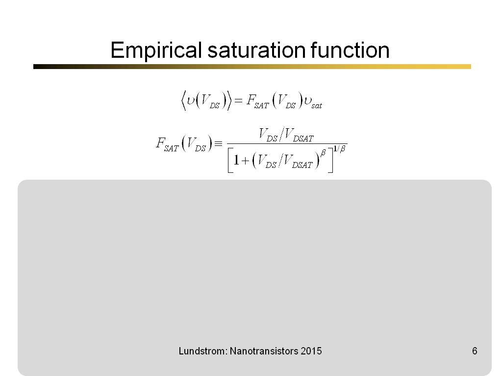 Empirical saturation function