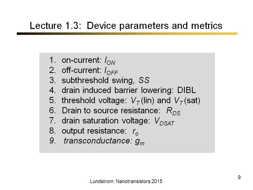Lecture 1.3: Device parameters and metrics