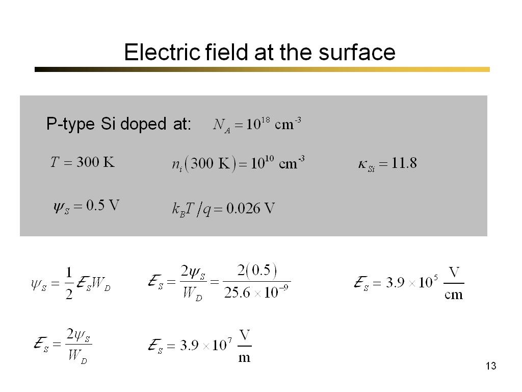 Electric field at the surface