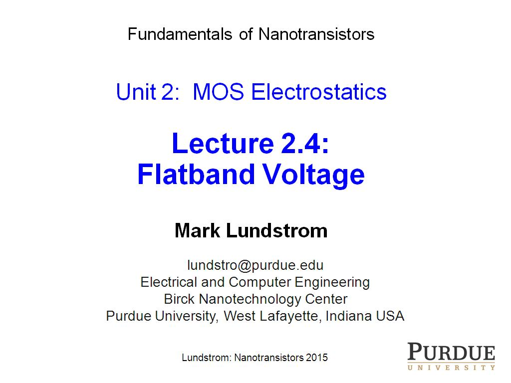 Lecture 2.4: Flatband Voltage