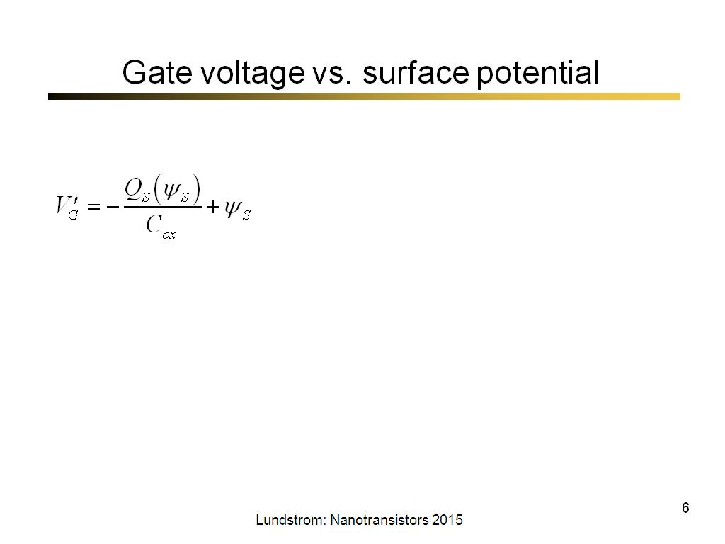 Gate voltage vs. surface potential