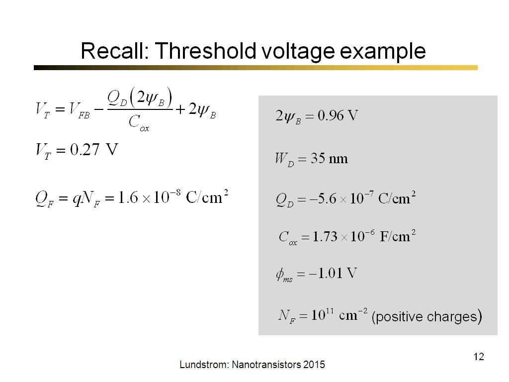 Recall: Threshold voltage example