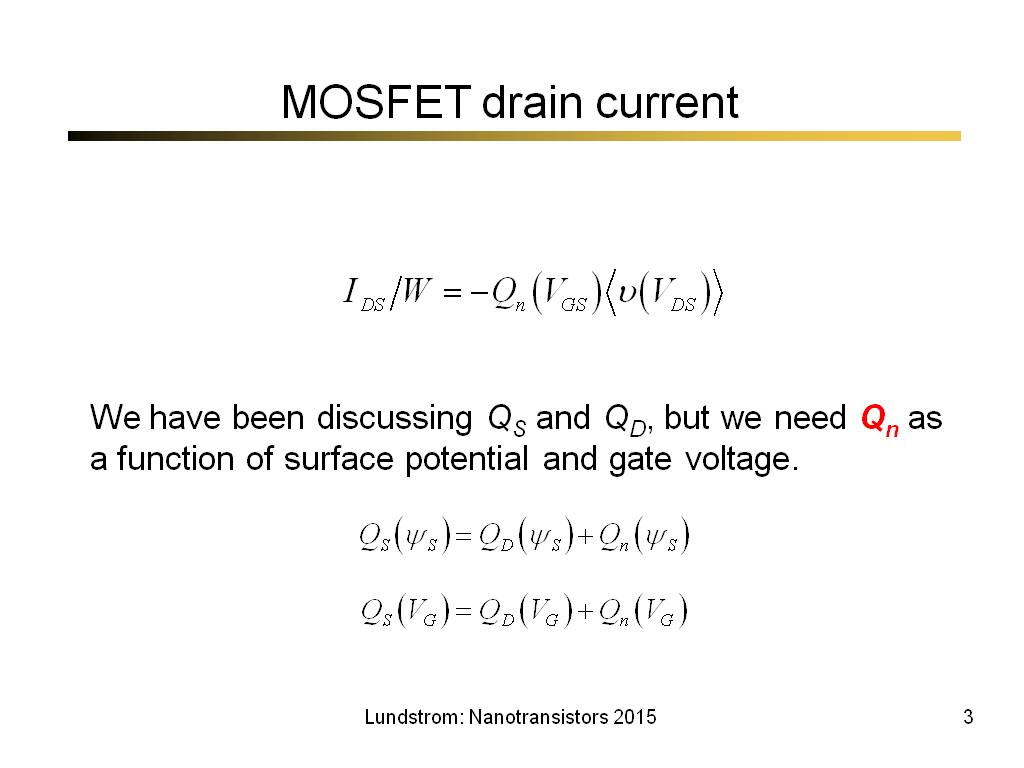 MOSFET drain current