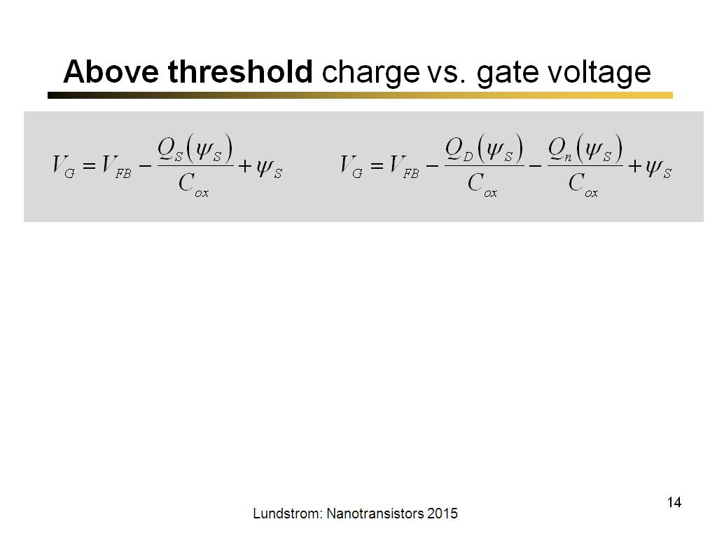 Above threshold charge vs. gate voltage
