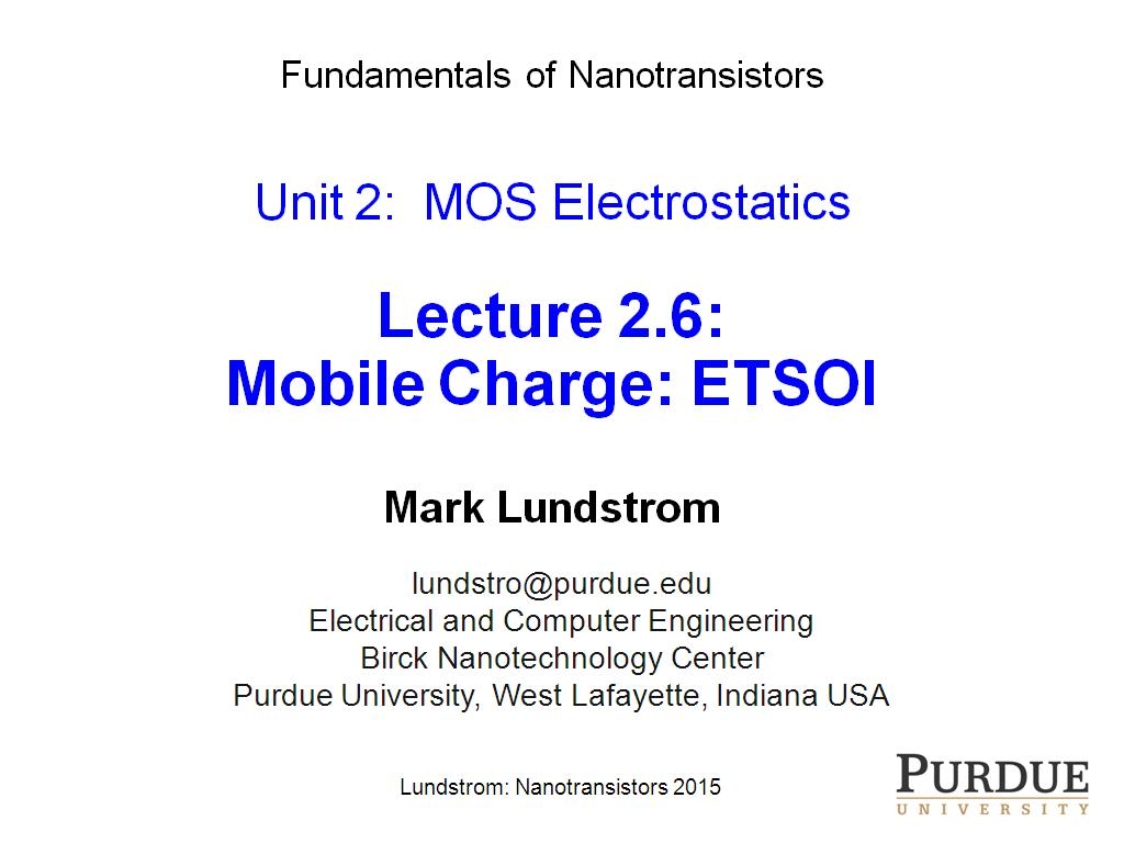 Lecture 2.6: Mobile Charge: ETSOI