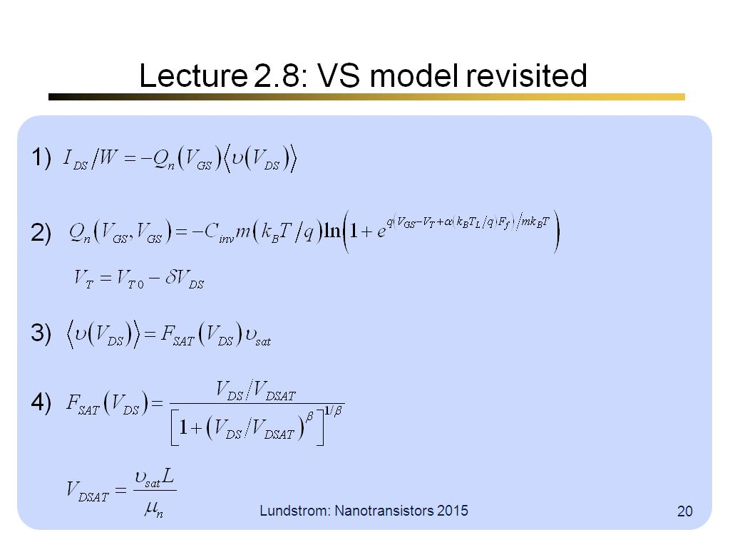Lecture 2.8: VS model revisited