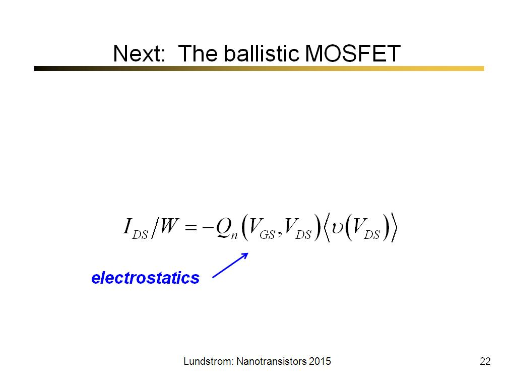 Next: The ballistic MOSFET