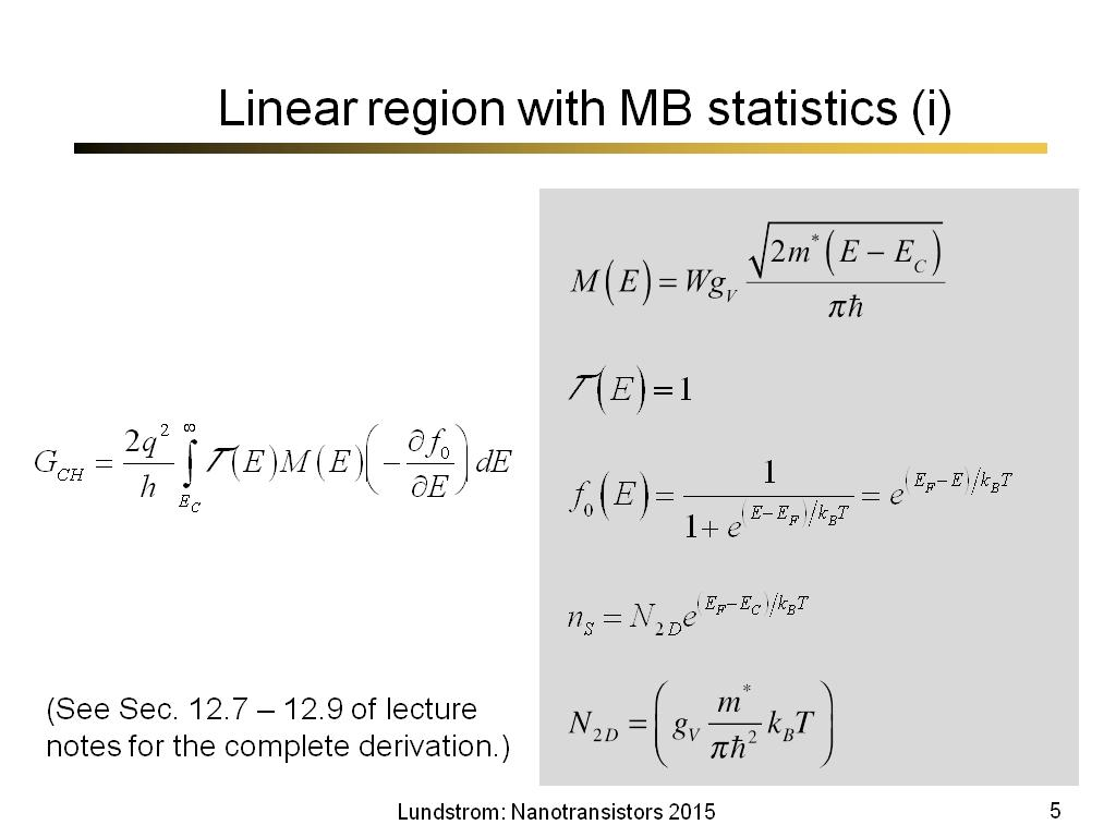 Linear region with MB statistics (i)