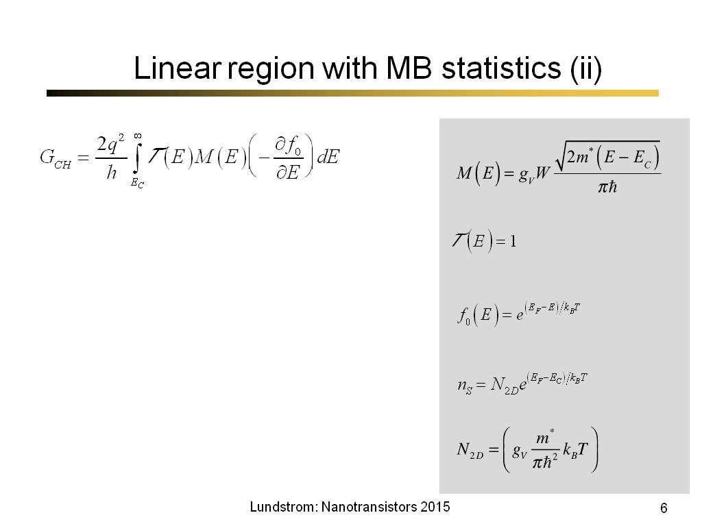 Linear region with MB statistics (ii)