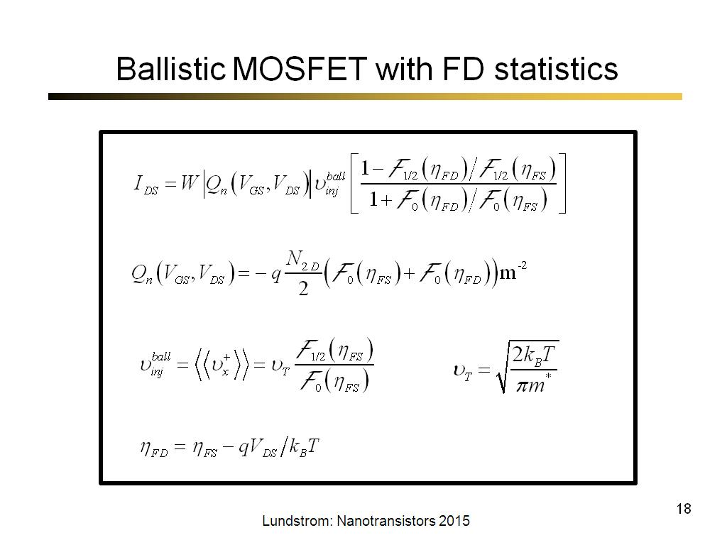 Ballistic MOSFET with FD statistics