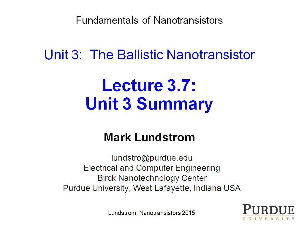 \Lecture 3.7: Unit 3 Summary