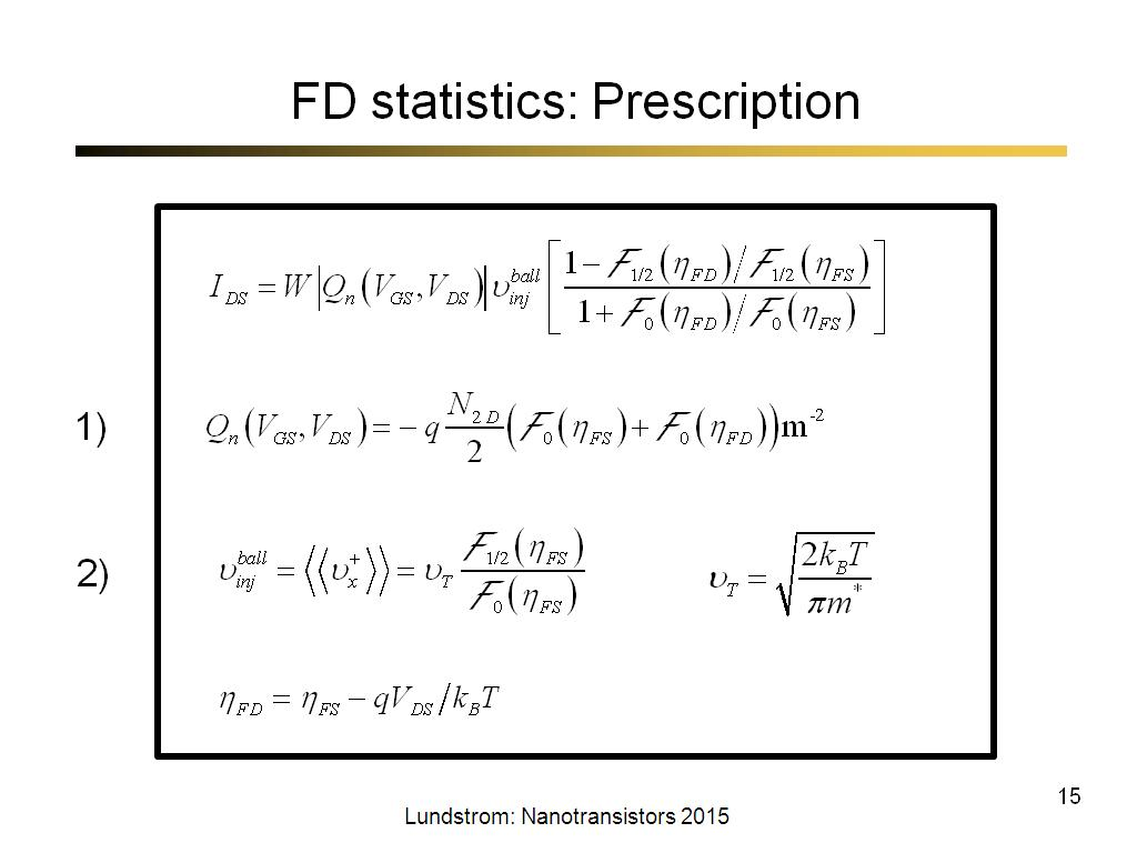 FD statistics: Prescription