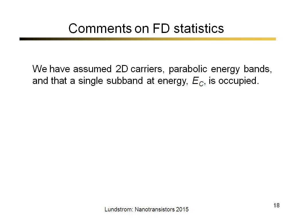 Comments on FD statistics