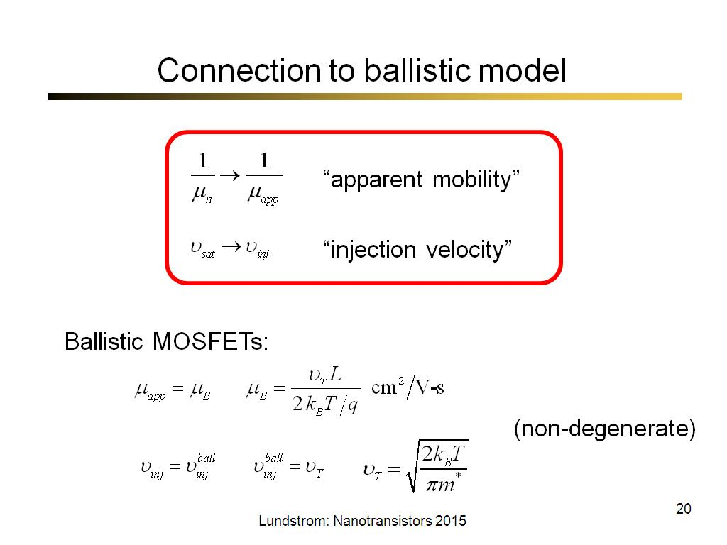 Connection to ballistic model
