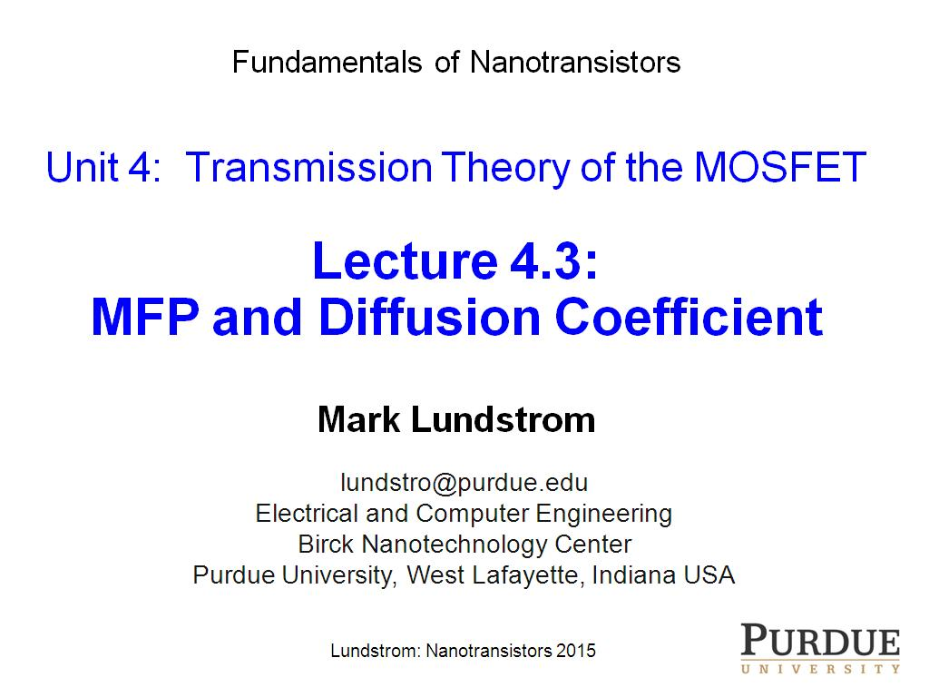Lecture 4.3: MFP and Diffusion Coefficient