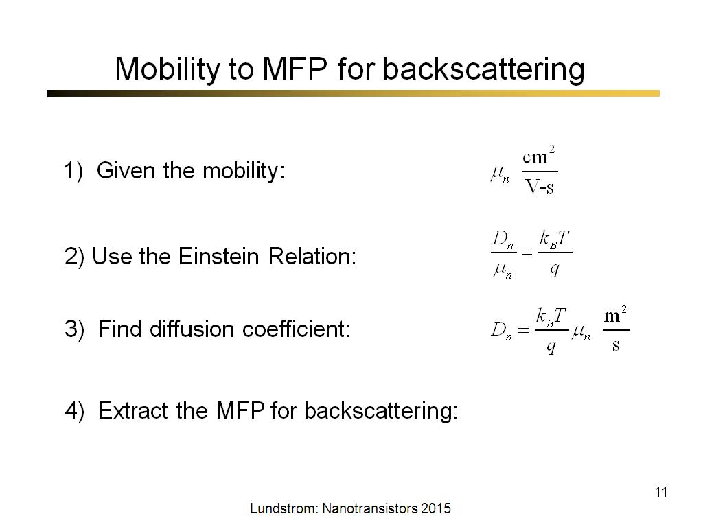Mobility to MFP for backscattering