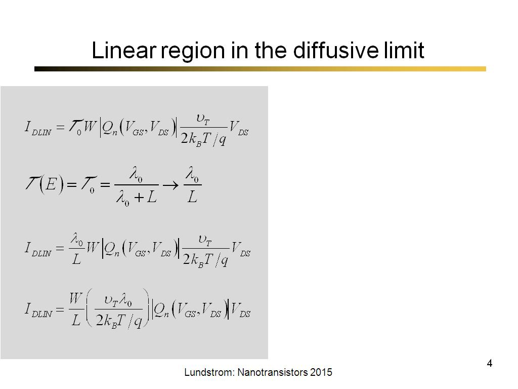 Linear region in the diffusive limit