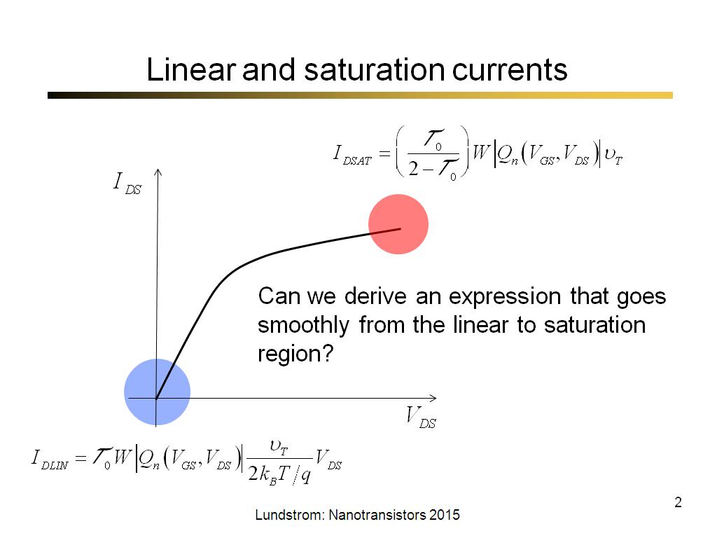 Linear and saturation currents
