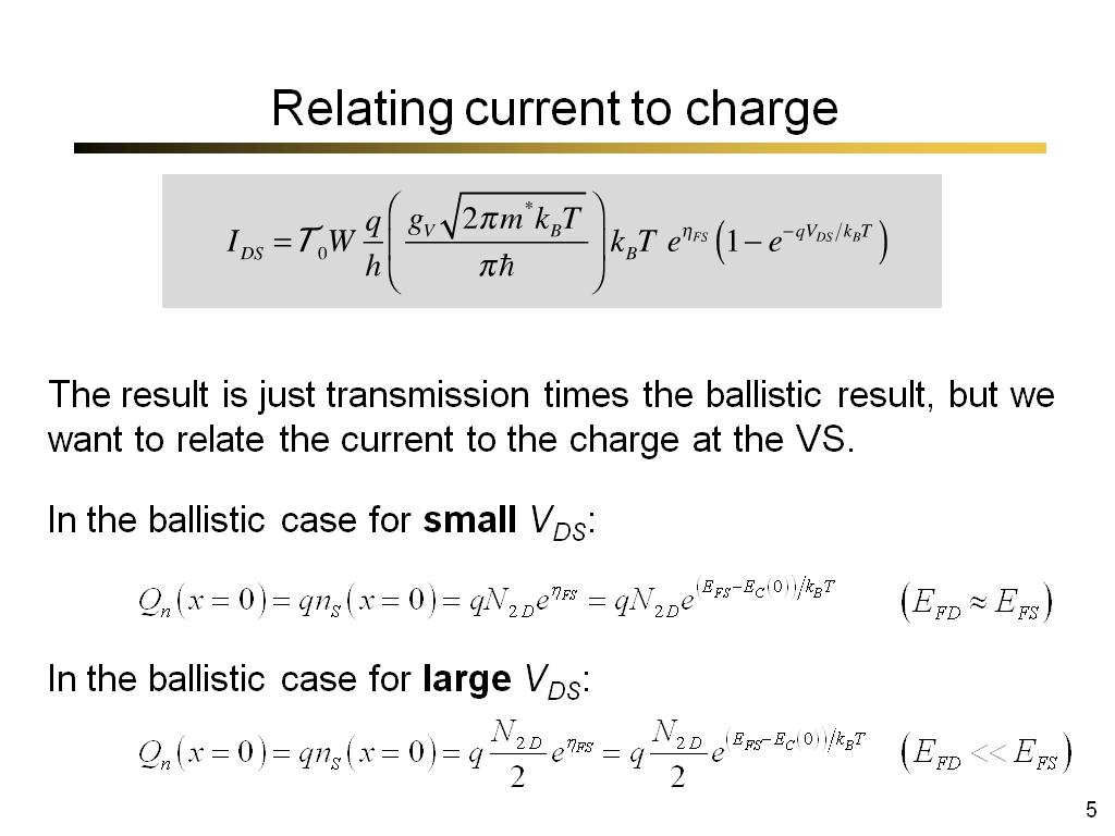 Relating current to charge