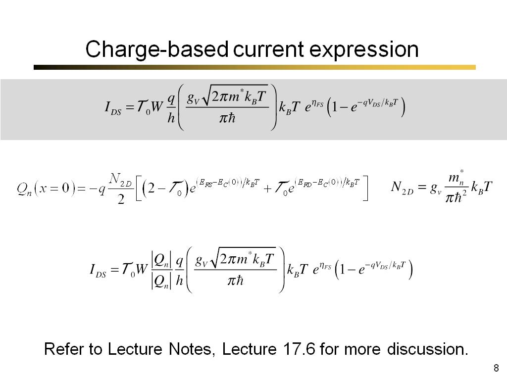 Charge-based current expression