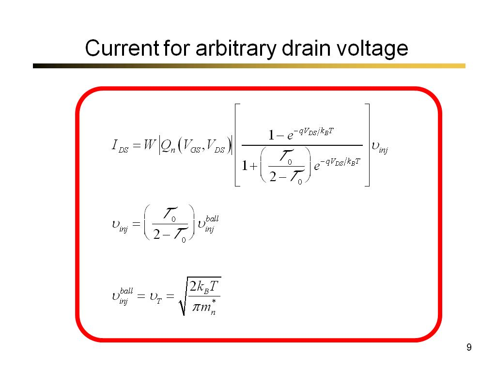 Current for arbitrary drain voltage