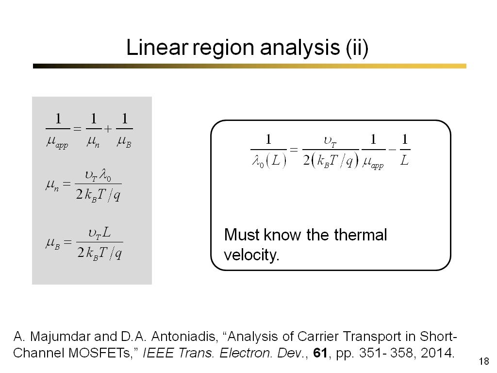 Linear region analysis (ii)