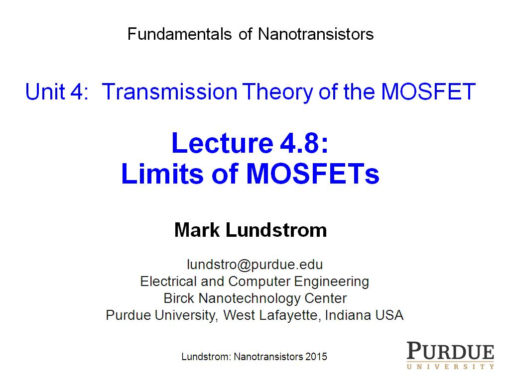 Lecture 4.8: Limits of MOSFETs