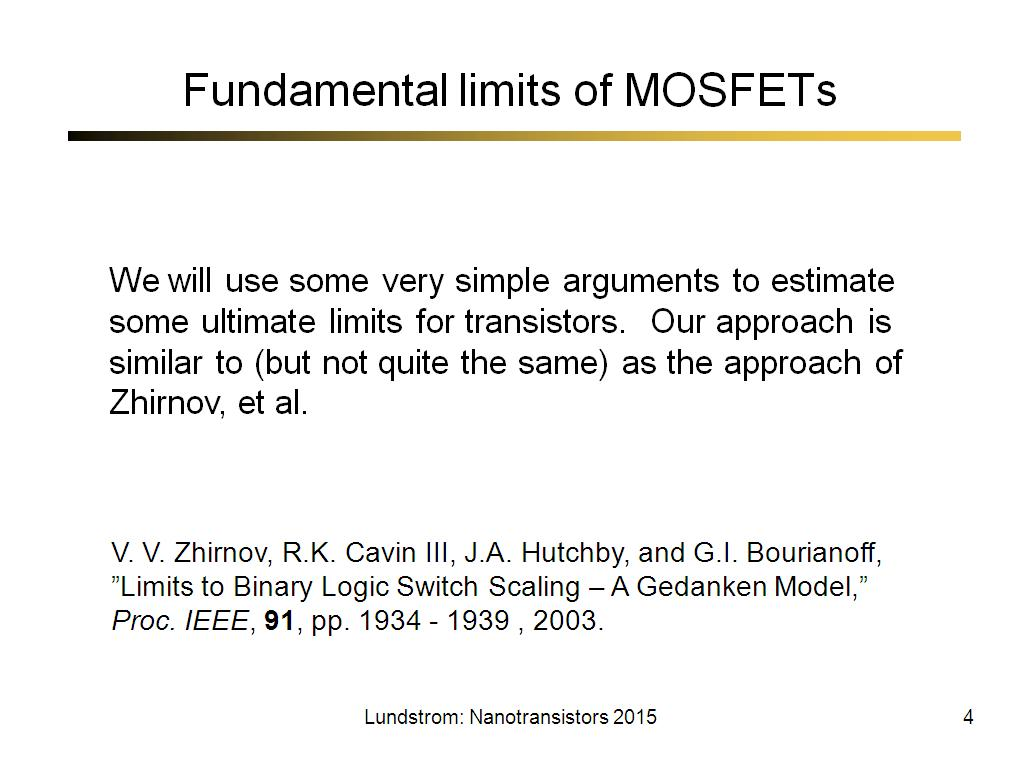 Fundamental limits of MOSFETs
