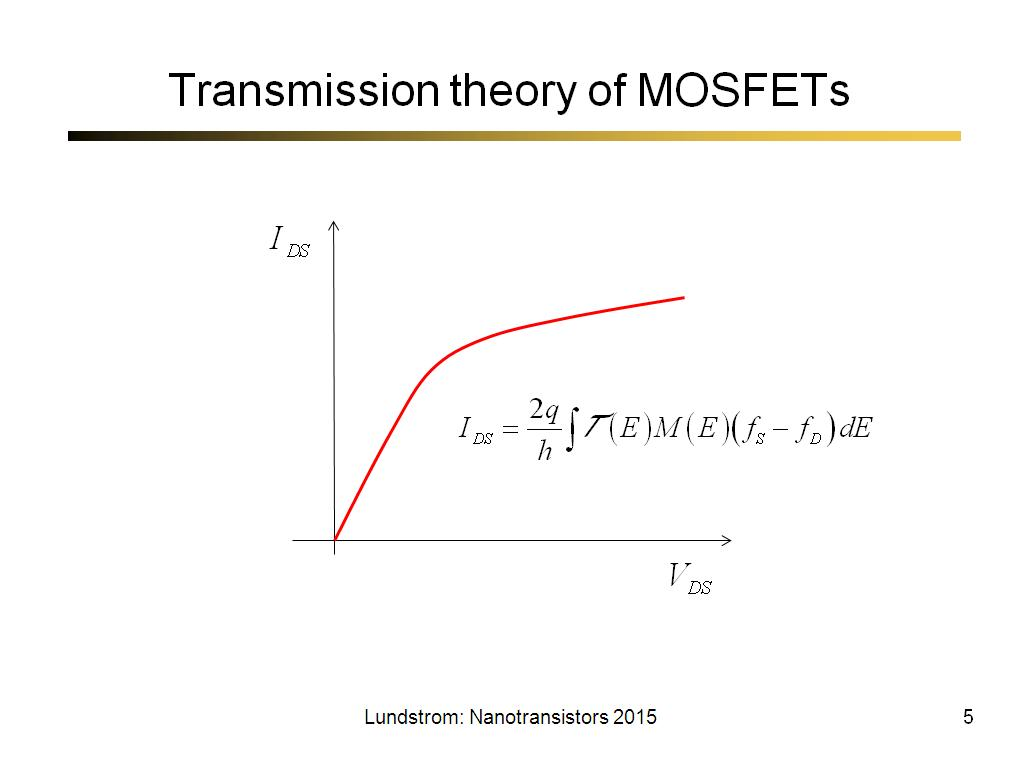 Transmission theory of MOSFETs