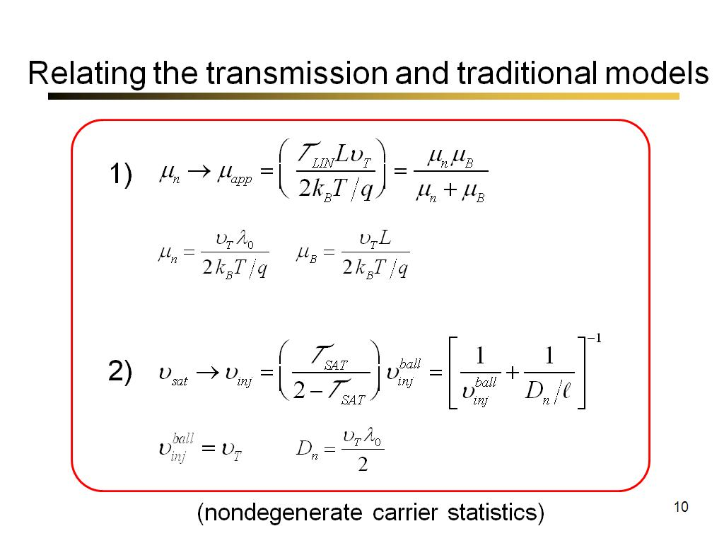 Relating the transmission and traditional models