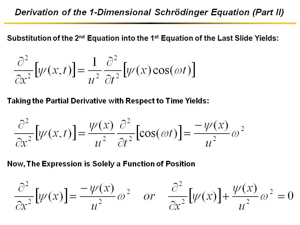 ... Derivation of the 1-Dimensional Schrödinger Equation (Part II) ...
