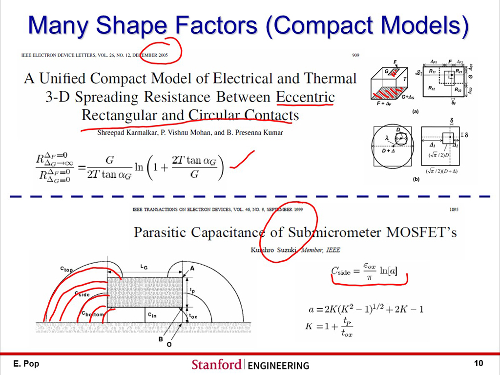 Many Shape Factors (Compact Models)