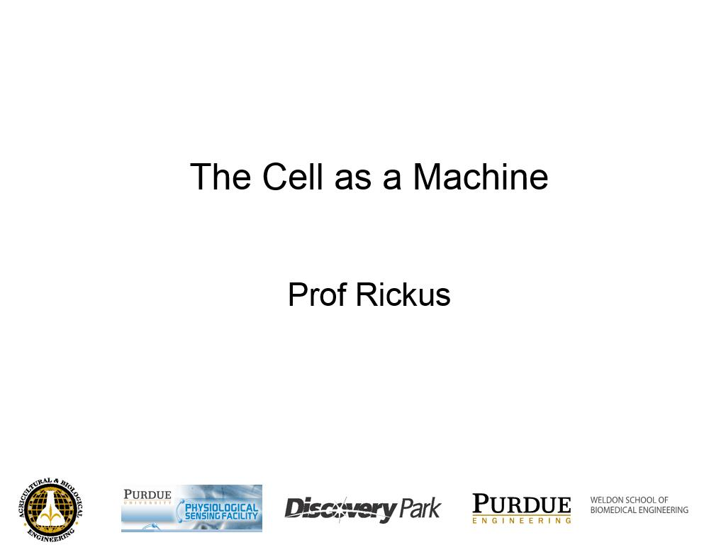 L1.2: The Cell as a Machine