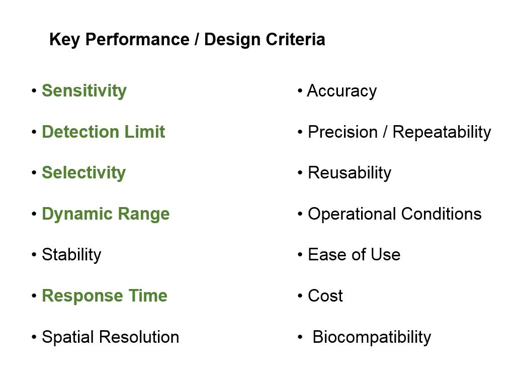 Key Performance / Design Criteria