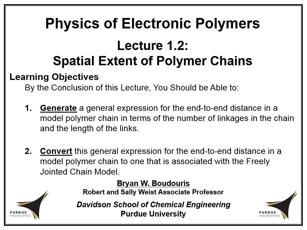 Lecture 1.2: Spatial Extent of Polymer Chains