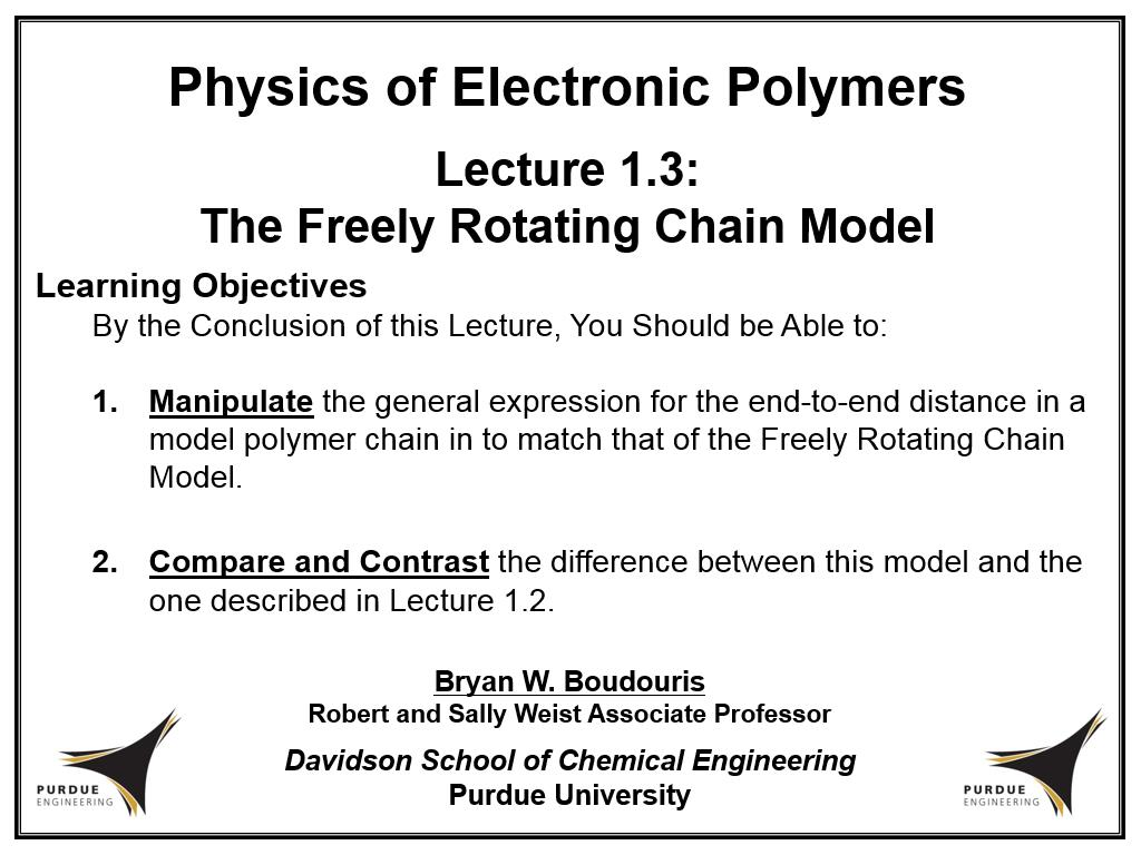 Lecture 1.3: The Freely Rotating Chain Model