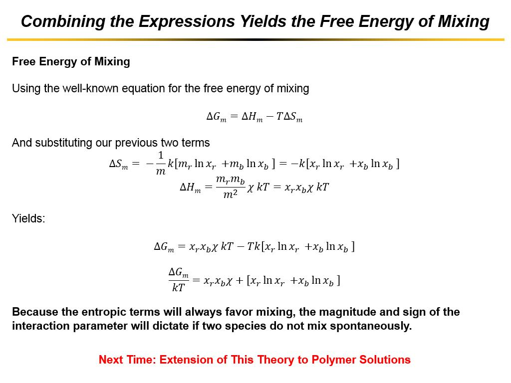 Combining the Expressions Yields the Free Energy of Mixing