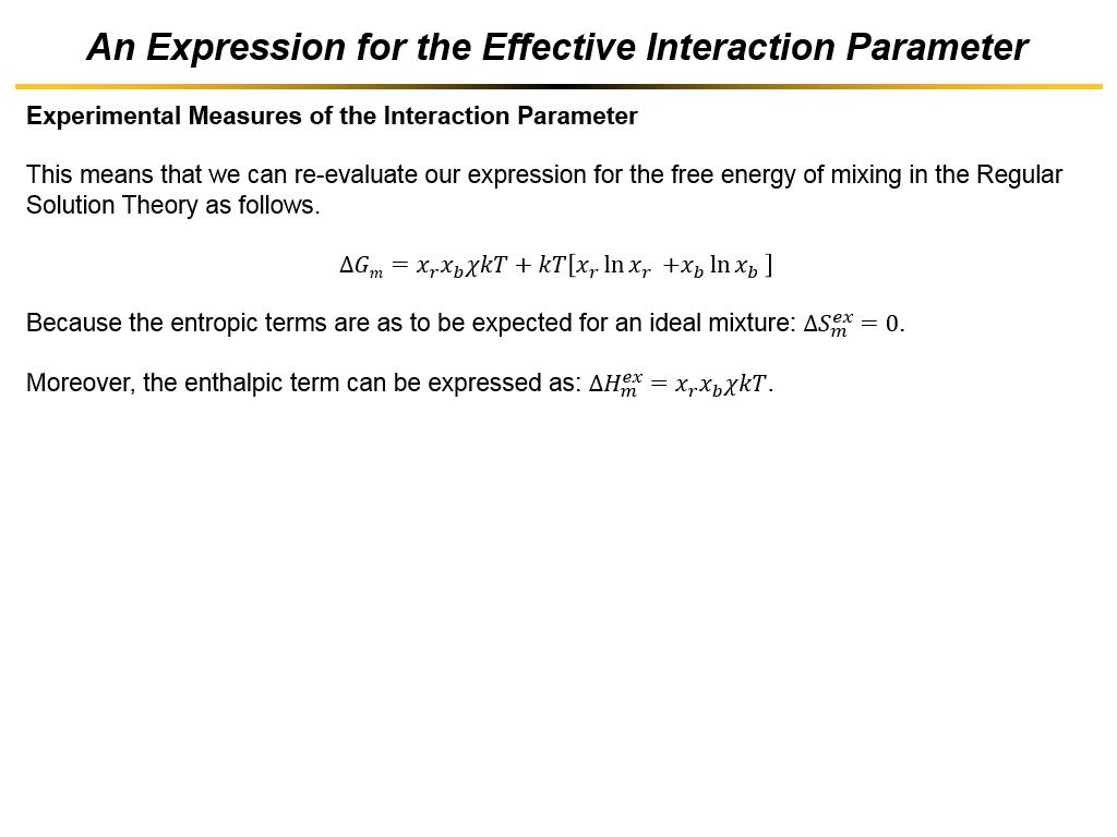 An Expression for the Effective Interaction Parameter