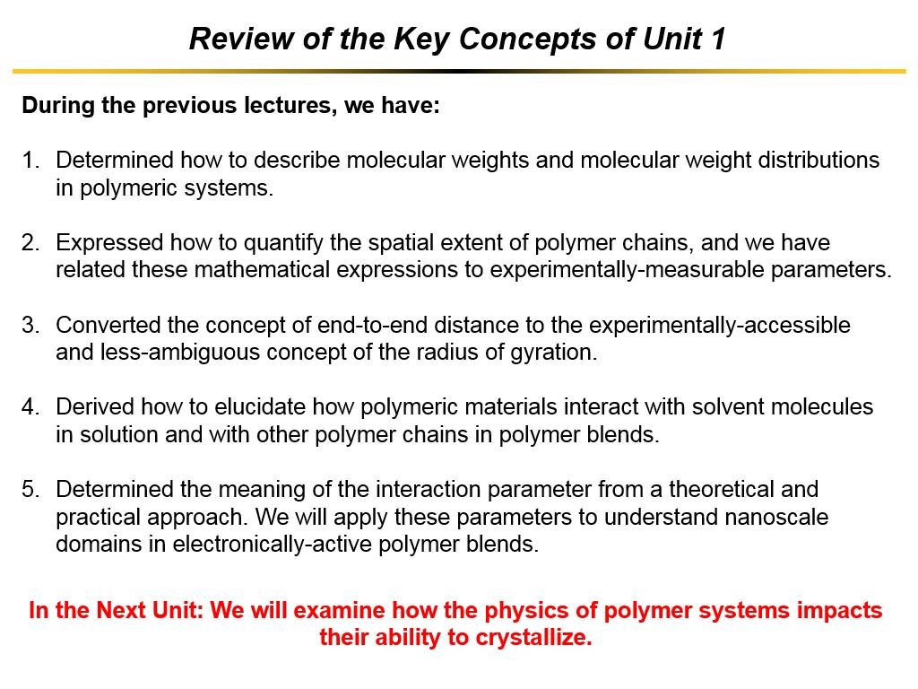 Review of the Key Concepts of Unit 1