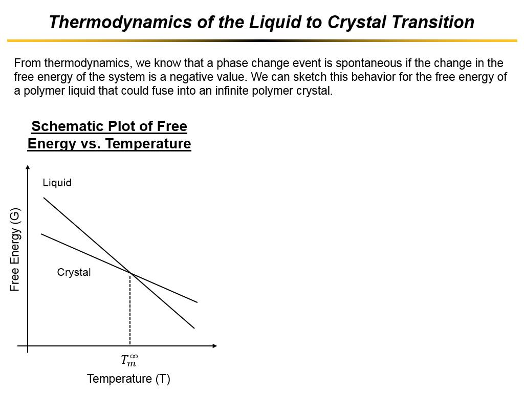 Thermodynamics of the Liquid to Crystal Transition
