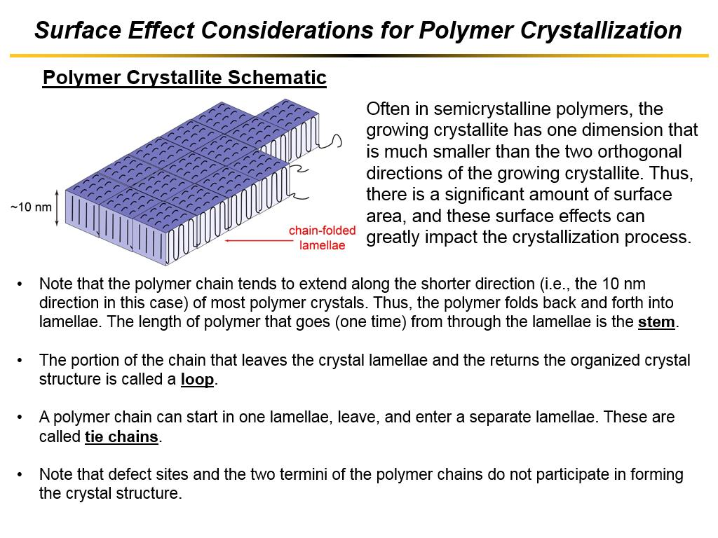 Surface Effect Considerations for Polymer Crystallization
