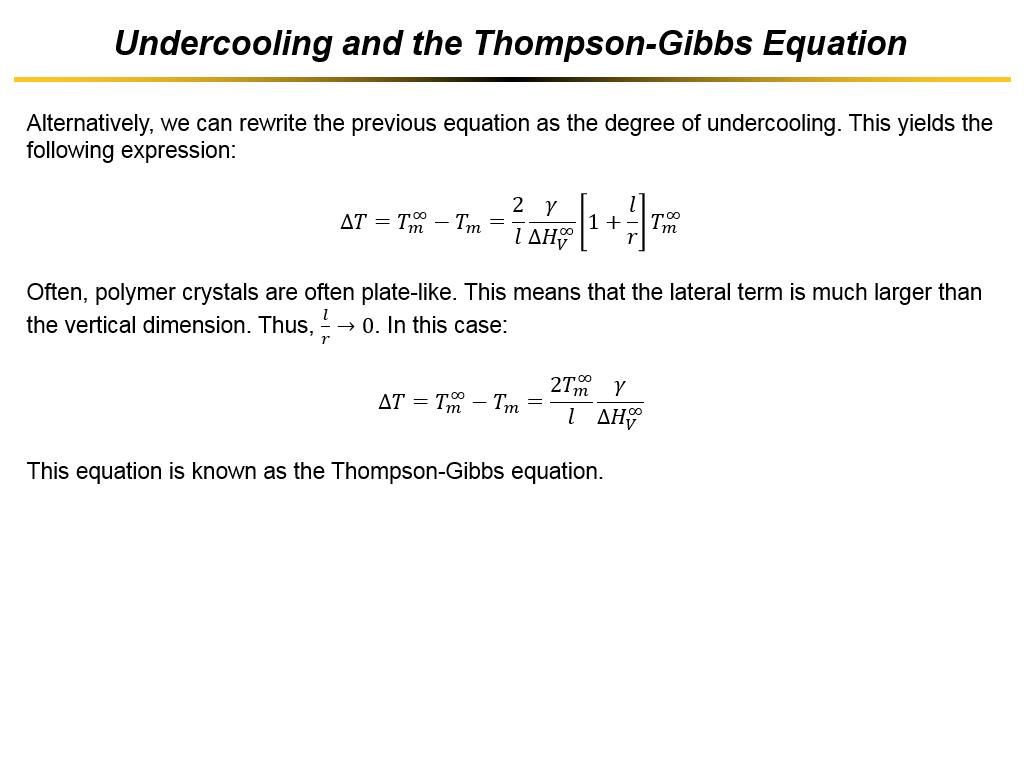 Undercooling and the Thompson-Gibbs Equation