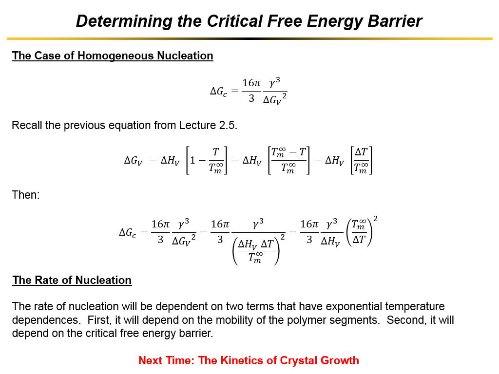 Determining the Critical Free Energy Barrier