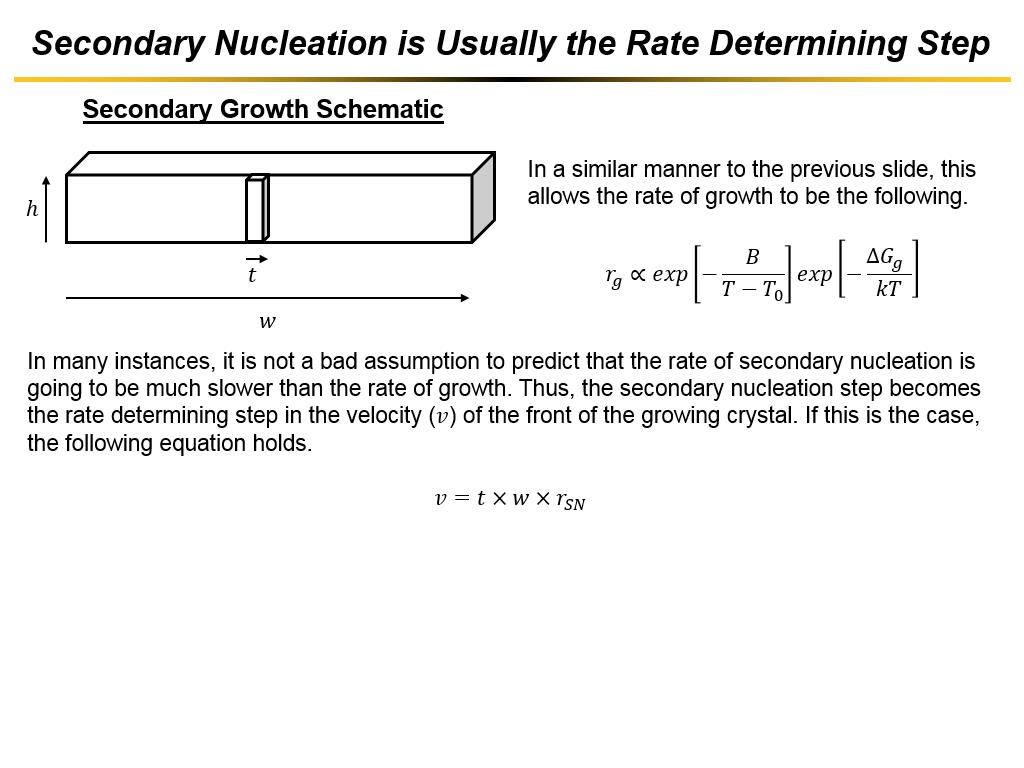 Secondary Nucleation is Usually the Rate Determining Step