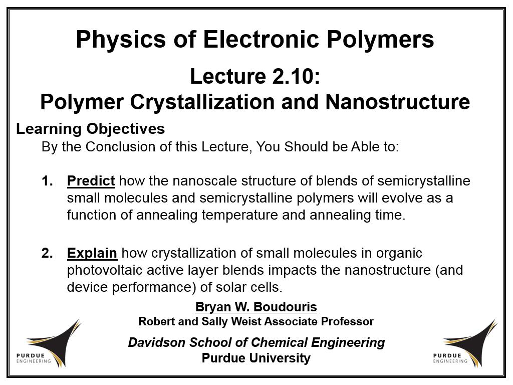 Lecture 2.10: Polymer Crystallization and Nanostructure
