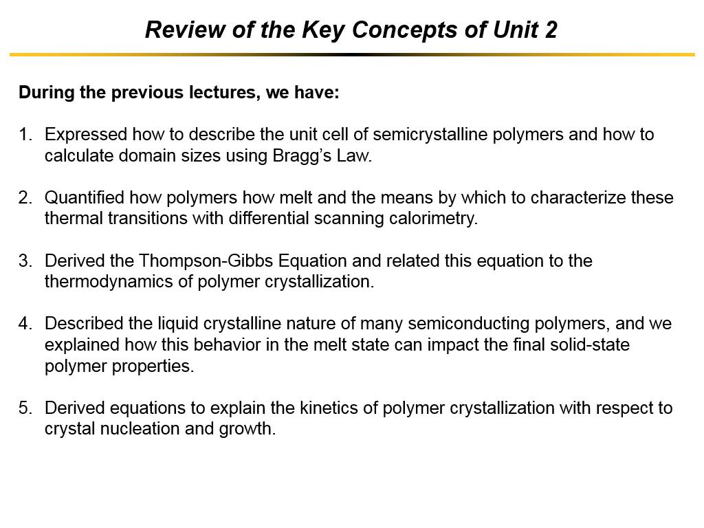 Review of the Key Concepts of Unit 2